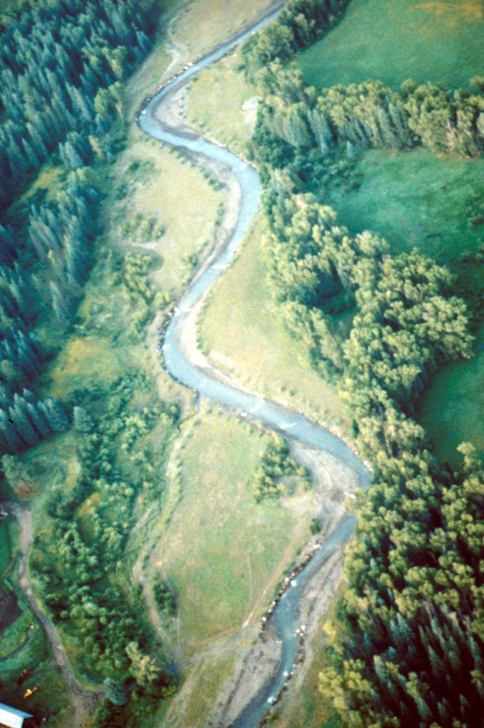 Blanco River following restoration showing meandering channel and constructed floodplain