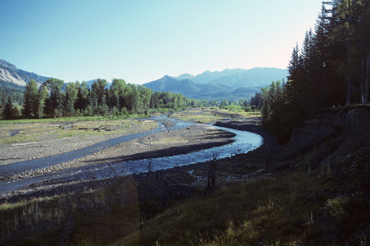 Blanco River in 1986 prior to restoration showing 600 foot wide braided reach