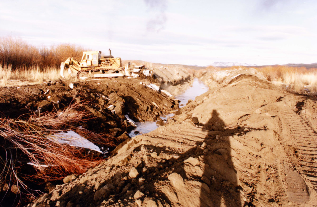 Filling in the gully during restoration in 1991